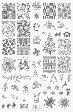 Christmas Nail Stamping Plate - Christmas 01 - UberChic Beauty Nail Stamping Plate - Christmas Designs for Nail Art