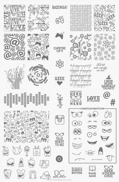 Geek Life Nail Art Stamping Plate - UberChic Nail Stamping Plate - SciFi nail art, TV show nail art, Gamer Nail Art