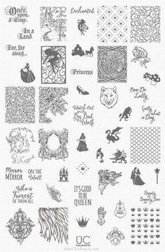 Fairy Tale Nail Art Stamping Plate - UberChic Nail Stamping Plate - Fairytale nail art, Princess nail art, Fairy Nail Art