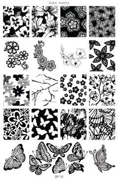 Dixie Plate DP10 - Flowers, Branches and Lots of Butterflies Stamping Plate for Nail Stamping and Nail Art