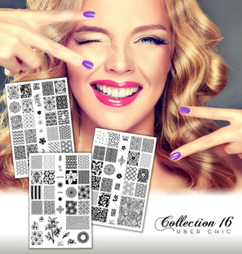 "UberChic Nail Stamp Plates - Collection 16 - Set of 3 Nail Art Stamping Plates - Flowers, Bubbles, Bird Tracks, ""You Can Do It"""