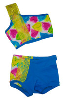 Turquoise with Hearts and Yellow Lace Angle Top with Matching Shorts