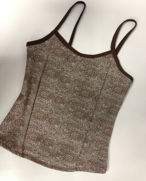 Brown Patterned with Brown Trim Full Top