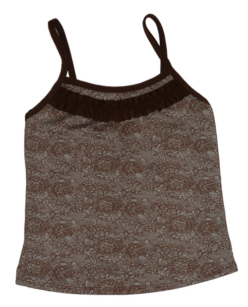 Brown Patterned Ruffle Trim Full Top