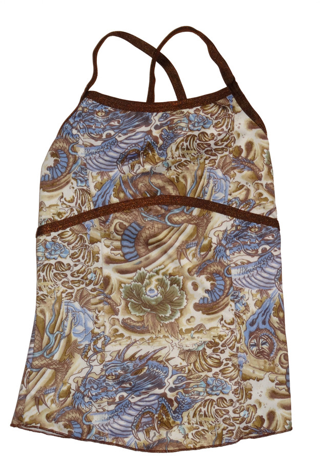 Brown and Blue Paisley Full Top