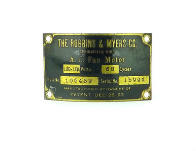 Original motor tag for robbins myers 12 lollipop fan for Robbins and myers replacement motors