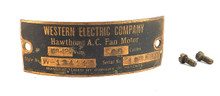 Original Western Electric Hawthorn All Brass Motor Tag w/Screws Copper Finish W-134110