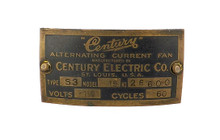 Original Century S3 Model 15 Motor Tag