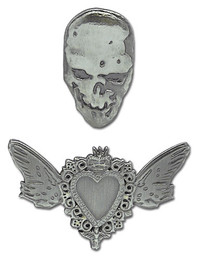 Death Note Heart and Skull Metal Pins (Set of 2)