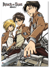 Attack on Titan: Armin, Eren, Levi Key Art Fabric Poster