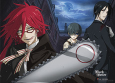 Black Butler: Grell Chainsaw Scythe Fabric Poster (Wall Art)