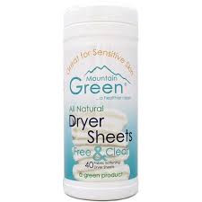 Mountain Green Free & Clear Dryer Sheets Our Free and Clear Dryer Sheets are 100% scent free with no masking agents for a comfortable clean.