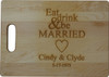 Large rectangular Maple cutting board with laser engraved personalization.