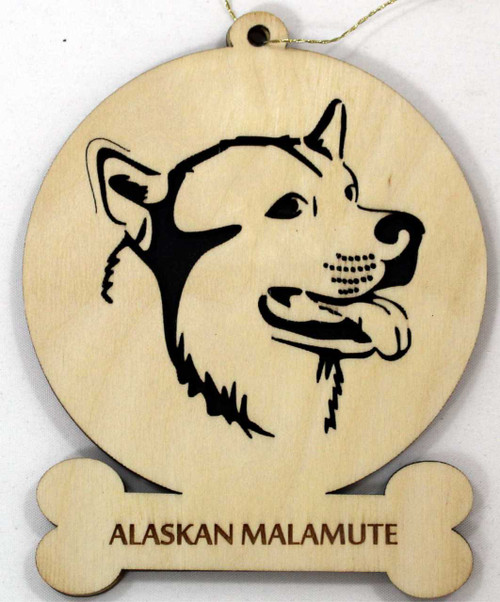 Alaskan Malamute Dog Ornament with breed name engraved on front