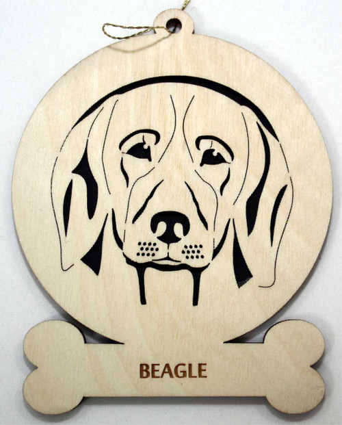 Wood Beagle Dog Ornament with breed name below picture