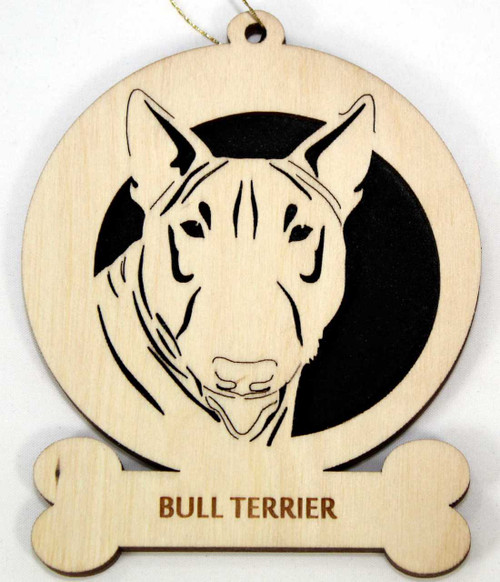 Wood Bull Terrier Dog Ornament with breed name laser engraved on the bottom front.