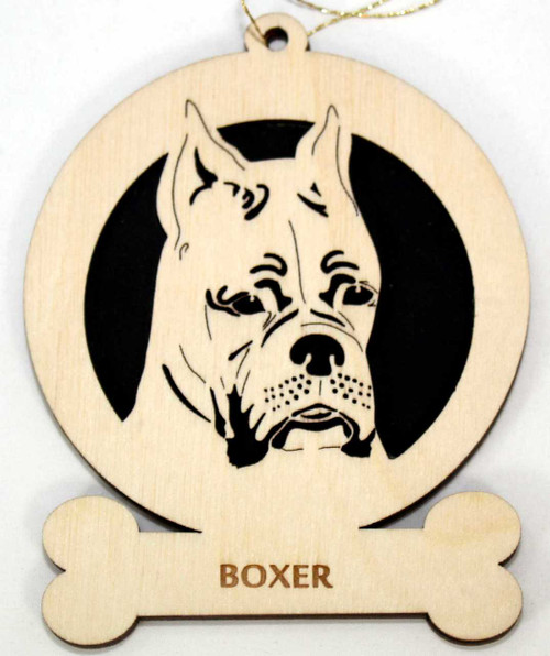 Wood Boxer Dog Ornament with breed name laser engraved on the lower front of the ornament.