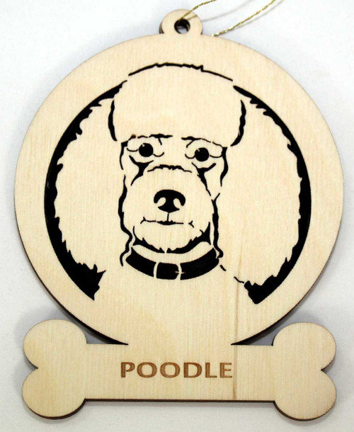 Wood Poodle Dog Ornament with the breed laser engraved on the lower front of the ornament.