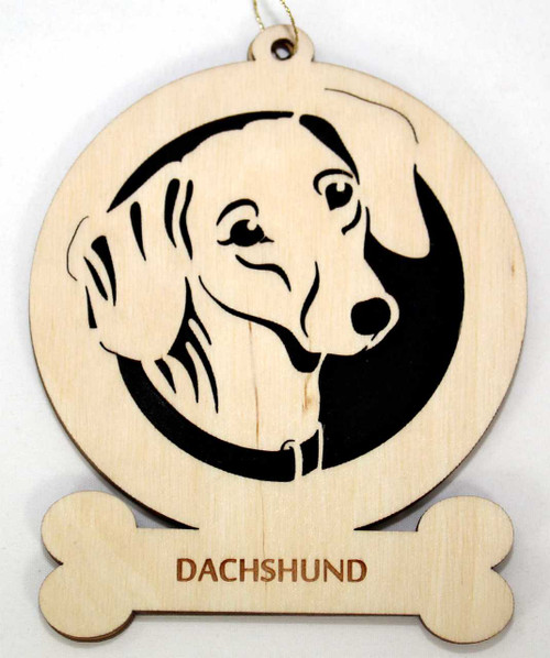 Wood Dachshund Dog Ornament with the breed laser engraved on the lower front of the ornament.