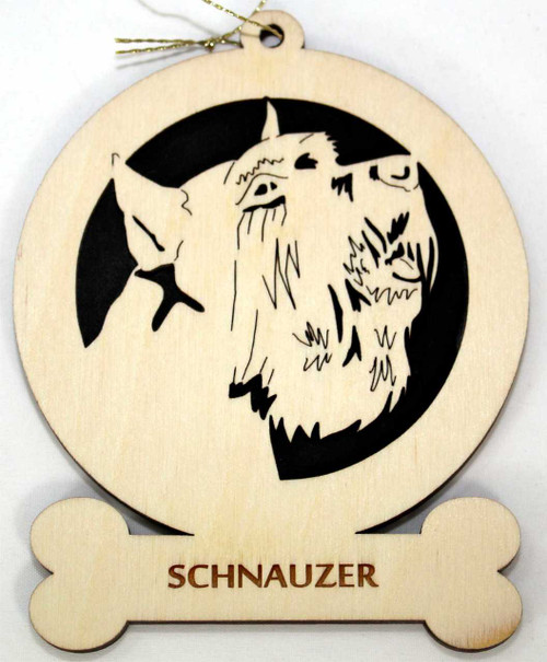 Wood Schnauzer Dog Ornament with the breed laser engraved on the lower front of the ornament.