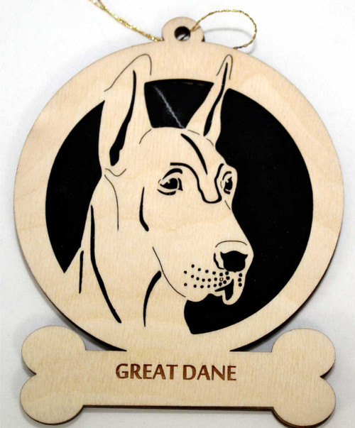 Wood Great Dane Dog Ornament with the breed laser engraved on the lower front of the ornament.