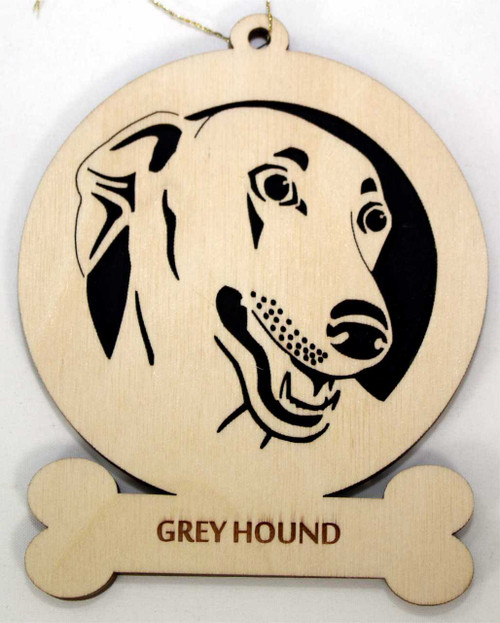 Wood Greyhound Dog Ornament with the breed laser engraved on the lower front of the ornament.