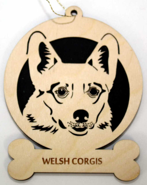 Wood Welsh Corgis Dog Ornament with the breed laser engraved on the lower front of the ornament.