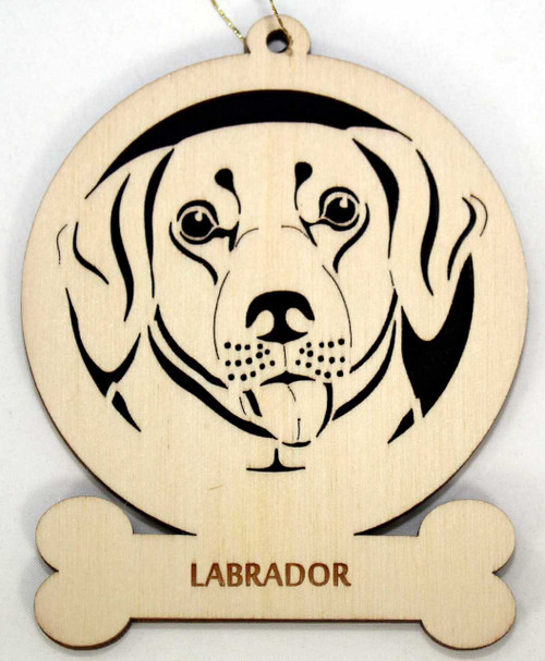 Wood Labrador Dog Ornament with the breed laser engraved on the lower front of the ornament.