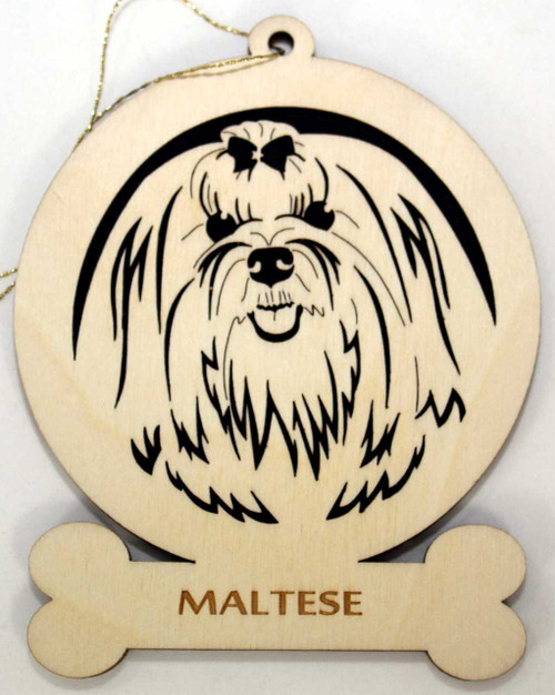 Wood Maltese Dog Ornament with the breed laser engraved on the lower front of the ornament.