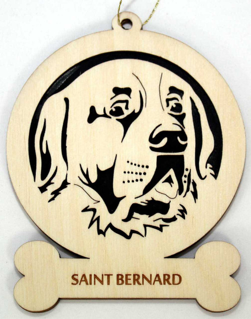 Wood Saint Bernard Dog Ornament with the breed laser engraved on the lower front of the ornament.