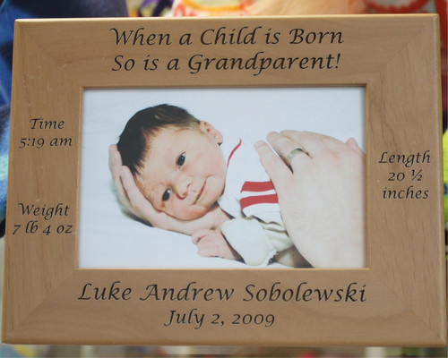 Grandparent Frame - When a Child is Born, So is a Grandparent is all about a new born baby in the family.  Intended as a gift for a grandparent(s), it has the name of the baby, its date of birth as well as weight, height and time of birth.