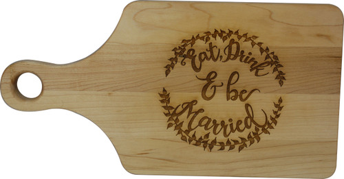 Paddle shaped Maple cutting board with laser engraved personalization