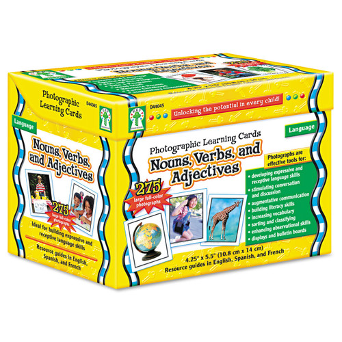 Nouns Verbs And Adjectives Photo Learning Cards