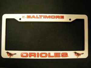 Baltimore Orioles White License Frame