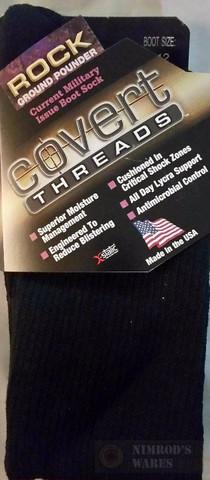 Covert Threads GROUND POUNDER Military Boot Socks LG BLK 2310