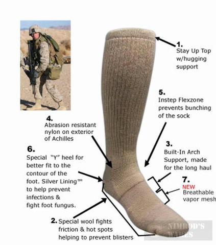 Covert Threads SAND Desert Military Boot Socks MED CB 5457
