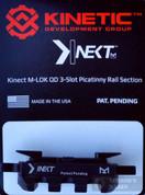 KINETIC Single 3 Slot QD / Quick Detach M-LOK Rail Section KIN5-100