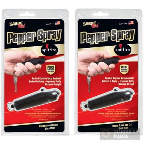 2-Pack SABRE SPITFIRE Keychain SELF-DEFENSE Pepper Spray BLK SF-01-BK-US