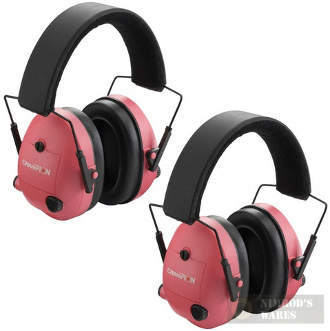 CHAMPION Shooter's Electronic Ear Muffs 2-PACK 25db PINK 40975