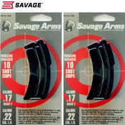 SAVAGE 20005 MKII 300 501 504 900 22LR 17 Mach2 10 Round Magazine 2-PACK