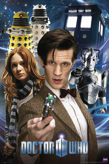 "11th Doctor, Amy, Daleks, Cybermen, and The TARDIS Poster 24"" X 36"""
