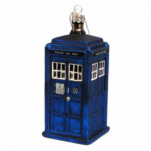 TARDIS Christmas Glass Ornament
