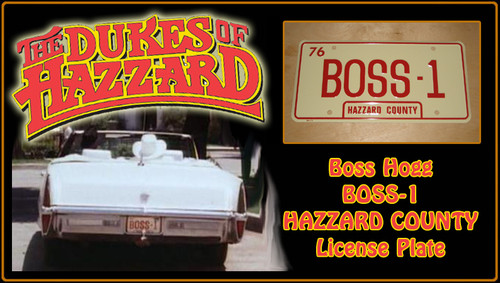 "License Plate - The DUKES of HAZARD - ""BOSS-1"""