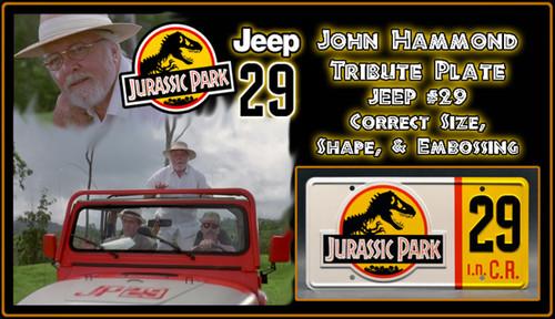 License Plate - JURASSIC PARK - Jeep 29