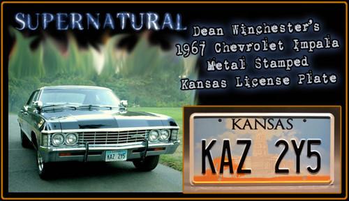 """License Plate - SUPERNATURAL - """"KAZ 2Y5"""""""