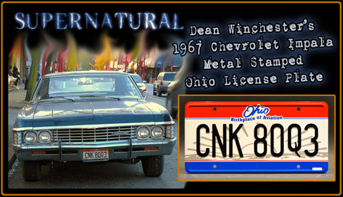 "License Plate - SUPERNATURAL - ""CNK 80Q3"""