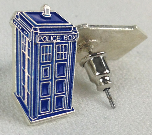 Tardis Metal Post Earrings