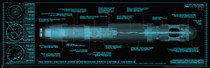 "10th Doctor Sonic Screwdriver Blueprint Poster 11.75"" X 36"""
