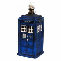 TARDIS Christmas Glass Ornament
