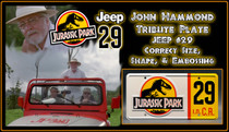 License Plate - JURASSIC PARK - Jeep 29
